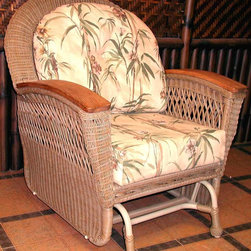 Spice Island Wicker - All-Weather Glider Armchair (Baja Lemon - All Weather) - Fabric: Baja Lemon (All Weather)Brighten your outdoor living space and relax at the same time.  Single glider is spacious and features custom fit cushions in a wonderful selection of colors and patterns.  All-weather wicker over aluminum frame is accented with solid teak armrests for lasting enjoyment.  Make your patio a lovely place to be with the help of this all weather glider.  Choose either natural or brown finish as well as the fabric that appeals to you most. * All Weather Wicker - Woven Vinyl over Aluminum frame. Stone Finish. Includes Cushion. Arms are solid teak