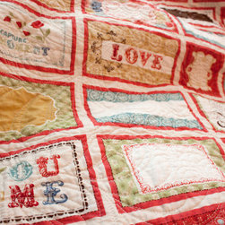 Custom Wedding Quilt, Red by Sarah Says Sew - This wedding quilt is such a great idea! It features blank spaces that can be signed with messages by friends and family on the big day. A perfect memento for newlyweds.