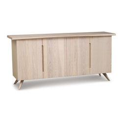 Copeland Furniture - Axis 4 Door Buffet by Copeland Furniture - Due to the unique way it's carved, the top of the Copeland Furniture Axis 4 Door Buffet has a distinctively--and deceptively--curved appearance. Pull on the recessed door pulls to reveal the interior of two cabinet spaces, complete with height adjustable drawers (one of which has an anti-tarnish liner for silverware storage). Founded in 1976 by Tim Copeland, Copeland Furniture specializes in the production of fine natural hardwood furniture. Continual evolution in Copeland Furniture designs have yielded new and exciting takes on classic Arts & Crafts, Shaker and Scandinavian bedroom, living room, office and dining room furniture. All Copeland Furniture pieces are designed and made at their manufacturing facility located on the banks of the Connecticut River in Bradford, Vermont.