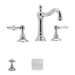 Rohl - Rohl Accqui wide spread bathroom faucet cross handles in polished chrome - 1/4-turn ceramic valves