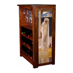 Kelseys Collection - Wine Cabinet 15 bottle Bath of Psyche by Lord Frederick Leighton - Wine Cabinet stores fifteen wine bottles and glassware with licensed artwork by Kim Drew giclee-printed on canvas side panels  The frame, top, and racks are solid New Zealand radiata pine with a hand stained and hand rubbed medium reddish brown finish, which is then protected with a lacquer coat and top coat. The art is giclee printed on canvas with three coats of UV inhibitor to protect against sunlight, extending the life of the art. The canvas is then glued onto panels and inserted into the frames.