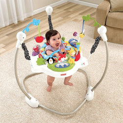 Fisher-Price - Discover-n-Grow Jumperoo - W9466 - Shop for Baby Bouncers and Jumpers from Hayneedle.com! Let baby jump with the Discover-n-Grow Jumperoo. This freestanding jumper is supported by three springs suspend the seat and allow children to jump with limited travel from left to right and front to back. The seat rotates 360-degrees for access to toys all around and includes a three-position height adjust to grow with baby. Removable softgoods on the seat are conveniently machine washable. Baby s jumping is rewarded with lights sounds and music and the music can be set in short-play or long-play mode. Hanging toys offer baby bat-at play. Other toys on the jumperoo include a light-up piano spinners a mirror a bead-bar a roller-ball a butterfly clicker and a teether.About Fisher-Price As the most trusted name in quality toys Fisher-Price has been helping to make childhood special for generations of kids. While they're still loved for their classics their employees' talent energy and ideas have helped them keep pace with the interests and needs of today's families. Now they add innovative learning toys toys based on popular preschool characters award-winning baby gear and numerous licensed children's products to the list of Fisher-Price favorites.