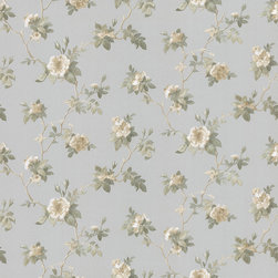 Brewster - Brewster Blue Small Floral Wallpaper - The Small Floral Wallpaper from Brewster features a flourishing a beautiful floral trail wallpaper on a soothing blue background. This wallpaper comes pre pasted, and features a straight-match design.