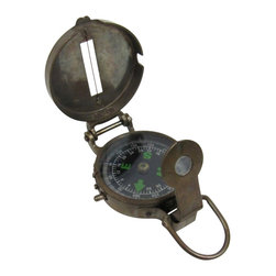 """Handcrafted Model Ships - Antique Brass Military Compass 3"""" - Antique Pocket Compass - The Antique Solid Brass Military Compass 3"""" is a true gem for any engineer. The compass card has the standard 0 - 360 degree scale, as well as the 0 - 64 Mil scale (one yard at 1,000 yards). The cardinal points are luminous for easy viewing in the dark, and the compass features a standard glass bezel with two lines at 45-degree angles. The bezel also rotates with detents so you can change the heading reference a known amount without looking at the compass."""