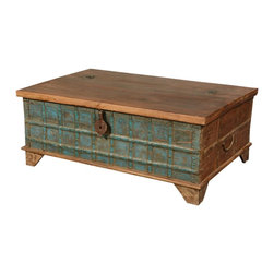 Emerald Blue Captain's Stash Old Wood Coffee Table Chest - Back when tall ships sailed the seas and fortunes were made on the spice route, the captain of the ship owned a special trunk called his stash. He was allowed to keep as much of the very best tea and spice he could fit into his stash. Capture the romance of those seafaring days with the Emerald Blue Captain's Stash Coffee Table Chest.