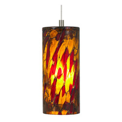 LBL Lighting - FSJ LED Abbey Pendant - The Abbey Pendant has an outer glass cylinder in a stained-glass style, plus an opal inner glass cylinder that provides soft light distribution. Available in Amber-Purple, Amber-Red, and Blue-Amber-Red glass varieties, with either a Bronze or Satin Nickel finish. One 6 watt 12 volt replaceable LED module is included. 3.5 inch width x 7.5 inch height. Six feet of field-cuttable cable is included. FSJ connector is included. Canopy required, sold separately.