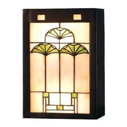 Meyda Tiffany - Ginkgo Wall Sconce - Requires two medium type 60 watt bulb. Arts and crafts floral theme. Cornerstone beige glass panel set. Hand finished frame. Beige 59 mahogany bronze finish. Shade: 7.5 in. W x 13.5 in. H. Overall: 7.5 in. W x 4 in. D x 13.5 in. H. Instructions Manual. Care InstructionsArts and crafts inspired cottage green ginkgo leaves. This handsome neutral colored wall sconce is a perfect compliment to any color or style room.