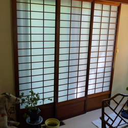 Portlandshojiscreen - This is a set of 3 Mahogany Shoji that I restored for a client. I replaced the original rice-paper with an acrylic type. I had to scrub the screens with steel wool and refinish. I repaired the existing valance and installed new tracks from Johnson Hardware. The clients so loved these that they hired me to build 3 identical shoji for another set of sliding glass doors they had.