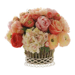 Winward - Mixed Rose Planter Flower Arrangement - Who can resist the romance of freshly cut roses, peonies and hydrangeas? This permanent garden bouquet is perfect for a cheerful kitchen or living room. You'll enjoy all the benefits of a well-tended garden for years without any of the hard work!