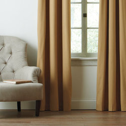 """Grandin Road - Set of Two Four Seasons Blackout Curtain Panels - Insulated blackout window curtains. Each set includes two panels with magnetic side hems that connect to close the gap. Face fabric made from 100% polyester with a 100% acrylic suede backing. Panels have 1"""" side hems and a 3"""" bottom hem. Each panel is fitted with six antique brass finished metal grommets. Treat yourself, and your windows, with a pair of hotel-quality Four Seasons blackout curtain panels - they're perfect for use in a bedroom, home office, or media room. This neutral-hued set of insulated curtains will improve your home's energy efficiency by stopping drafts in cold weather and holding back heat during warmer months. When closed and connected by the magnets in the side hems, the panels block out light completely and reduce noise, so you can better control your environment; reduce glare on TV and computer screens; and protect furniture, rugs and other valuables from sun damage.. . . . . Each pair of curtains will cover a window up to 80"""" wide - see dimensions for details. Machine washable. Imported."""