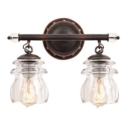 """Kalco - Iron Brierfield 13 1/4"""" Wide Antique Copper Bath Light - 2-light glass and iron bath light. Antique copper finish. Glass and iron accents. Two clear insulator glass shades. Two maximum 100 watt or equivalent medium base bulbs (not included).  13 1/4"""" wide. 10 1/4"""" high. Extends 6 1/4"""" from wall.         2-light glass and iron bath light.  Antique copper finish.  Glass and iron accents.  Two clear insulator glass shades.  Two maximum 100 watt or equivalent medium base bulbs (not included).  13 1/4"""" wide.  10 1/4"""" high.  Extends 6 1/4"""" from wall."""