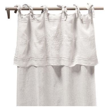 Pom Pom Curtain Panel - Classica Tie Top Linen Voile White - The Classica Tie Top curtain panel in white linen voile is a perfectly-harmonized mix of decorative elements from chic and comfortable traditional interiors. Below the long ties that secure the panel to your curtain rod with bows or loose knots, a deep fold mimics the layered look of a valance all in one curtain. Parallel pintucks and a delicious damask motif in fine tone-on-tone embroidery complete this linen panel with hope-chest authenticity and upscale grace.