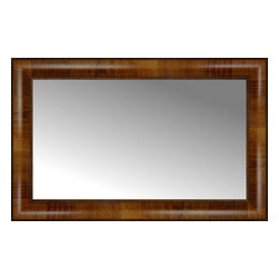 """Posters 2 Prints, LLC - 25"""" x 16"""" Belmont Light Brown Custom Framed Mirror - 25"""" x 16"""" Custom Framed Mirror made by Posters 2 Prints. Standard glass with unrivaled selection of crafted mirror frames.  Protected with category II safety backing to keep glass fragments together should the mirror be accidentally broken.  Safe arrival guaranteed.  Made in the United States of America"""