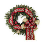 Frontgate - Designer Pre-Decorated Red and Gold Outdoor Christmas Wreath Christmas Decor - Clear LED and prism lights. Outdoor ornaments, designer ribbon and acrylic picks beautifully withstand the elements. Cordless design allows for boundless decorating options. Operate on three D batteries (not included). Arrives expertly assembled; may require some shaping after unpacking. The look of custom-dressed greenery is yours in an instant with our Designer Pre-Decorated Outdoor Wreaths. The exclusive cordless designs feature a blend of lush, realistic greenery, richly embellished with strands of faceted crystals, oversized outdoor ornaments and yards of embroidered and jeweled ribbon – all expertly placed. Pre-lit with 120 lights, they make an elegant, stunning presentation day or night.  .  .  .  .  .