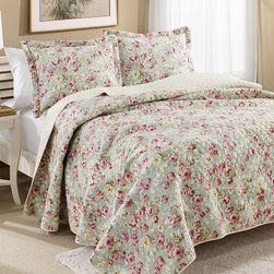 Laura Ashley - Laura Ashley Bloomsbury Aqua Cotton Reversible Quilt Multicolor - 199290 - Shop for Quilts from Hayneedle.com! Bring some spring to your bedroom decor with the Laura Ashley Bloomsbury Aqua Cotton Reversible Quilt. With a fresh floral pattern this quilt comes complete with two standard pillow shams (one sham with twin-size option). The design is fully reversible with a subtle stripe pattern on the opposite side and the quilt comes complete in your choice of size.Dimensions:Twin: 68L x 86W inchesFull/Queen: 86L x 86W inchesKing: 100L x 90W inchesSham: 20L x 20W inchesAbout Laura AshleyLaura Ashley is the quintessential English brand and began when Laura and her husband Bernard began designing textiles at their kitchen table in 1953. Founded in Great Britain Laura Ashley is known for its historic and coveted British fabrics wallpapers and cushions. It has recently expanded to North America to offer a full range of global products for the home and garden. Laura Ashley brings to the market carefully selected quality products in a range of categories that are stylish fashionable colorful and innovative.