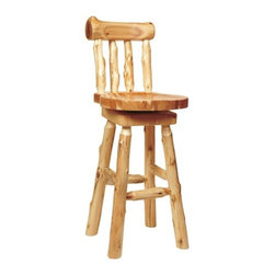 "Fireside Lodge - Traditional Cedar Log Barstool with Back (Set of 2) - Made from hand - peeled Northern White Cedar logs. Hand peeling leaves the natural character and beauty of the log intact and gives a more rustic appearance. Features: -Barstool with back. -Traditional Cedar Log collection. -White cedar construction. -Swiveled seat. -Clear coat catalyzed lacquer finish for extra durability. -Northern white cedar logs are hand peeled to accentuate their natural character and beauty. -Individually hand crafted. -Wood burning of wildlife on backrest is available. -Contoured seat and backrest for superior comfort. -Fireside Lodge provides two year limited warranty. Dimensions: -24"": 37"" H x 17"" W x 19"" D, 30 lbs. -30"": 43"" H x 17"" W x 19"" D, 30 lbs."