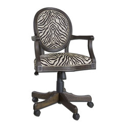 Uttermost - Yalena Swivel Desk Chair - Solid, White Mahogany Wood With Fluted Carvings In A Distressed Black With Dark Espresso Undertones Featuring Adjustable Height And Swivel Castors. Comfortable Seating In Woven Antique White And Black Accented By Nickel Nail Head Detail.