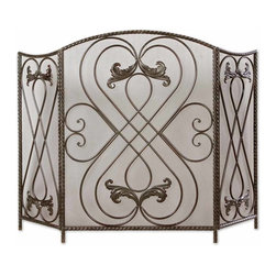 Grace Feyock - Grace Feyock Effie Traditional Fireplace Screen X-06902 - Made of hand forged metal, this screen features a distressed aged black finish with chestnut brown undertones.