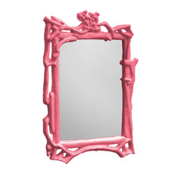 """Stray Dog Designs - Stray Dog Designs Magalie Pink Mirror - The Magalie mirror highlights the romance found in nature with gnarled papier-mache sticks forming a lace-inspired frame. Above a console or dresser, this transitional mirror pops in pink. 32""""W x 48""""H; Papier-mache and wood; Handcrafted by artisans from recycled materials; Finished with low VOC paint"""