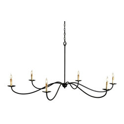 Currey and Company - Currey and Company Saxon Traditional Chandelier X-7629 - The Currey and Company Saxon Traditional chandelier is a distinctive, updated piece with simple, long arms. The wrought iron frame features subtle, delicate curves in a deep Zanzibar black finish. The six short candle lights offer a warm, elegant light to the room.