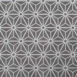 Walls Republic - Geometric Grey Wallpaper R2245 - Geometric is a bold geometric optical illusion print overlaid on a faux wood backdrop. Comprised of basic cubed, circular, and triangular forms entanglement will play with your sight and create an engaging backdrop.