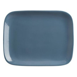 """Leone 10.75""""x8.5"""" Blue Plate - Our freeform artisanal French stoneware collection preserves a legacy of hand-craftsmanship and quality while speaking to modern sensibilities. A unique assortment of dining and serving shapes in two shades, pale grey and slate blue, can be customized to your personal taste for more traditional or non-traditional place settings suited to a variety of global cuisines. Dual matte and glossy finishes add textural interest. Streamlined handle-free cups serve everything from espresso to wine."""
