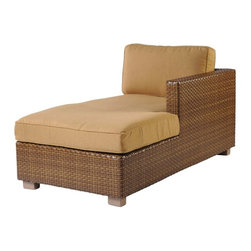 Woodard - Whitecraft by Woodard Sedona Right Arm Chaise Lounge Sectional Unit - S631041R - Shop for Chaise Lounges from Hayneedle.com! Cap off a sectional unit or just set the Whitecraft by Woodard Sedona Right Arm Chaise Lounge Sectional Unit next to your pool or under an umbrella and get ready to loose track of some time while you relax outdoors. The clean lines of this modern style are formed with a frame of lightweight corrosion-resistant metal with an exterior of woven resin wicker. This innovative material has the look and feel of traditional wicker while staying strong and looking fresh even when exposed to years of outdoor use. The thick supportive cushions are filled with deep firm foam and covered in your choice of outdoor fabrics. Multiple trim options and fabric grades are also available If your space or taste requires something a little different this lounge is also offered in a left-hand version.Woodard: Hand-crafted to Withstand the Test of TimeFor over 140 years Woodard craftsmen have designed and manufactured products loyal to the timeless art of quality furniture construction. Using the age-old art of hand-forming and the latest in high-tech manufacturing Woodard remains committed to creating products that will provide years of enjoyment.Superior Materials for Lasting DurabilityAll Seasons Outdoor Wicker is the latest addition to the Woodard line of quality furniture. Each piece is constructed using cutting-edge synthetic fibers hand-woven over an aluminum frame. With this combination of resilient weather-resistant materials and Woodard's quality workmanship All Seasons Wicker will retain its beauty and integrity for years.Most Woodard furniture is assembled by experienced professionals before being shipped. That means you can enjoy your furniture immediately and with confidence.Together these elements set Woodard furniture apart from all others. When you purchase Woodard you purchase a history of quality and excellence and furniture that will last