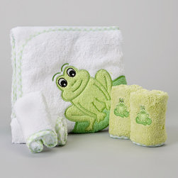 SpaSilk - Green Frog Hooded Towel Set - Splish splash, it's time for a bath. Featuring washcloths for cleanups and a hooded towel for after cleaning up, this supersoft and absorbent set is Baby's best bath time companion. �� Includes one towel and four washcloths Towel: 26'' x 30'' Washcloth: 9'' x 9'' 100% cotton Machine wash; tumble dry Imported