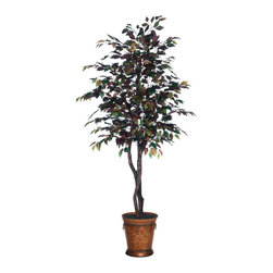 Vickerman - 6' Mystic Ficus Heartland / Round Metal - 6' Mystic Ficus Heartland Tree with 3 Dragonwood trunks, Round Metal container, American made black excelsior