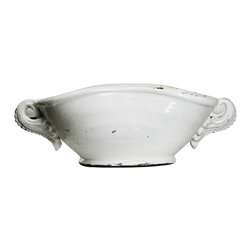 Zentique - Coco Bowl, White - The Coco Bowl pottery features a curved edge with lug handles.