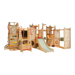 CedarWorks - Rhapsody 8 Playset - CedarWorks Rhapsody 8 is perfect for hide and seek. With six below deck hideaways, there are hiding spots abound. With playful features including monkey bars, climbing walls, rope ladder, fire pole, ladder, nook slide, arched ladder, rope & bucket, nooks, toy bin, chalkboards, steering wheel, and a telescope; your kids will never run out of fun play options.