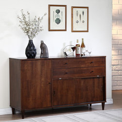 None - Vilas Tobacco 2-shelf Buffet & Bar - Create the dining room of your dreams with the Vilas tobacco finished buffet. Constructed of durable wood,this piece features matte black pulls and two adjustable shelves.