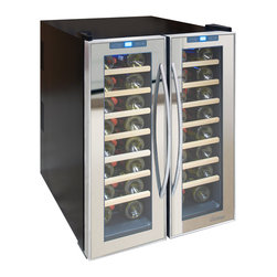 Vinotemp - 48-Bottle Dual-Zone Thermoelectric Mirrored Wine Cooler - The sleek 48-Bottle Dual-Zone Mirrored Wine Cooler allows you to accurately control the temperature of your wine with two independent temperature controlled zones for red and white wine. A quiet thermo-Electric cooling system protects your bottles from unnecessary vibration. Thermoelectric cooling is not only good for your valuable wine collection but also for the environment. Using absolutely no ozone depleting chemicals such as CFCs or HCFCs you will be sure that you are doing your part to preserve the environment. This state of the art cooler features dual-Pane glass windows, a technology that has been proven in the construction industry. They have better insulation properties, better UV protection, and are easier to clean. This energy efficiency will lead to less electricity usage and savings in energy bills throughout the years. This cooler features a black cabinet, mirrored trim doors, and elegant pole handles, making it a must-have for the wine lover with an eye for style!