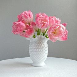 Fenton Hobnail Milk Glass Vase By Barking Sands Vintage - Fill this vintage milk glass vase with a bouquet of her favorite blooms!