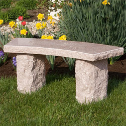 Curved Natural Granite Bench - Provide the perfect seating area for your guests to relax with the Curved Natural Granite Bench. Use as a focal point or pair with other granite products to accessorize your outdoor living space. To clean, simply rinse the outdoor stone bench with water.