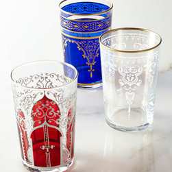 """Horchow - Six """"Moroccan"""" Tea Glasses - Bring the mystique of Morocco into your home with these petite, eastern-inspired tea glasses. Each color features a different Moroccan motif. Made of glass. Select color when ordering. Hand wash. Set of six; each, 2""""Dia. x 3.75""""T. Imported."""