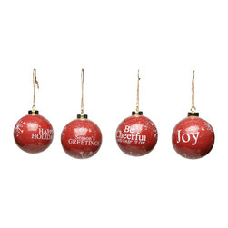 Balsam Hill Red Christmas Balls with Message - Set of 8 - SHINING BRIGHT WITH HOLIDAY CHEER