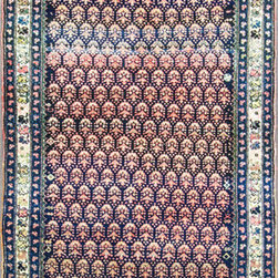 """Persian Rug - Consigned 3'9"""" X 9' Persian Kurdish Runner C-1920 - Kurdish rugs are as diverse as the ethnic weavers who created them. The presence of Kurdish weavers in the northwestern area of Persia and the Iranian Kurdistan region has led to some stylistic overlap. Antique Kurdish rugs are one of the few under-recognized rug types to emerge in the past 30 years. Kurdish groups traditionally populated the eastern edge of Turkey, northern Iraq, western Persia and small areas near Persia's eastern borders. Although these antique Kurdish rugs feature motifs that are reminiscent of Caucasian designs, Kurdish weavers were a very small minority in areas north of Persia. As their designs reflect, Kurdish weavers aren't part of a homogenous group. There are many clans and sub-groups, such as the Jaff and Sanjabi, who produce individual designs."""
