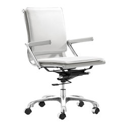 ZUO - Zuo Lider Plus Office Chair in White - Normally function over style rules with office chairs. This color conscious ergonomic swivel chair on wheels comes in white, green or the fabulous purple. A padded back and seat cushions, plus neoprene arm pads and a locking tilt adjustment, created so you you can function in style!