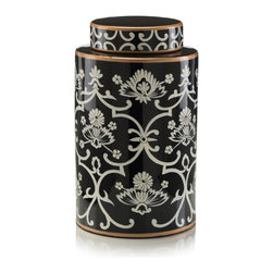 Our Collection - Ceramic Painted Cannister - Floral Scroll Black and White Patterned Jar.  Hand painted and glazed floral patterned canister.