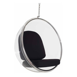 Modern black hanging lounge chair inspired by Bubble design - The design of this stylish and comfortable hanging chair was inspired by the Bulb chair design by famous furniture designer of the 20th century -  Eero Aarnio.  The body of the lounge chair is made of clear acrylic material. The seating cushions are upholstered with black faux leather.