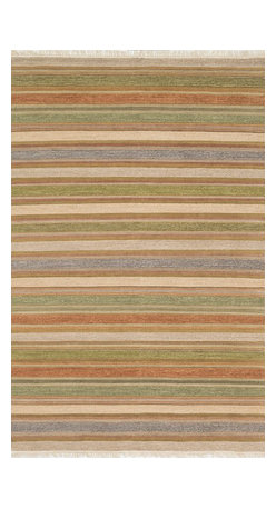 """Loloi Rugs - Loloi Rugs Camden Collection - Lt. Green/Multi, 5'-0"""" x 7'-6"""" - The Camden Collection from India, is hand-woven of 100% wool, showcasing a series of striped and solid flat weave kilims in a broad range of soft, on-trend colors. Camden's defining characteristic is its texture, which alternates with each stripe inthe pattern to create an unprecedented appearance that will freshen up any room."""