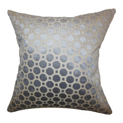 """The Pillow Collection - Kostya Geometric Pillow Grey - Add some hint of elegance to your home by decorating this gorgeous throw pillow. Adorned with a geometric pattern on a dazzling grey background, this indoor pillow is a perfect home accessory. Constructed using 100% high-quality velvet material, this 18"""" pillow is a lovely addition to your home. Hidden zipper closure for easy cover removal.  Knife edge finish on all four sides.  Reversible pillow with the same fabric on the back side.  Spot cleaning suggested."""