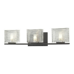 Z-Lite - Z-Lite 3026-3V Jaol 3 Light ADA Compliant Bathroom Vanity Light - Rectangular glass shades with horizontal textured lines soften the bright light of the Jaol vanity family. The flat arm design exudes a contemporary design finished in finely brushed nickel, rich bronze and highly polished chrome.Specifications:
