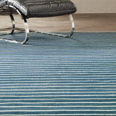 Flatweave Pinstripe Wool Rug Blue/Ivory | Ben Soleimani for Restoration Hardware