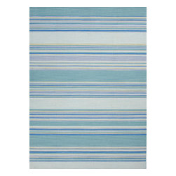 Jaipur Rugs - Flat Weave Stripe Pattern Blue Wool Handmade Rug - CC07, 9x12 - Fashion-forward color and a soft texture highlight the relaxed sophistication of the Coastal Living Dhurries Collection. Ideal for any casual lifestyle, the boldly striped, flat-woven pieces are easily cleaned - ideal for lounging after a day spent at the beach.