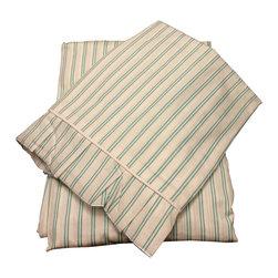 raziascloset - Spring Green Stripes - 100% Cotton Flat Bedsheet - King - 100% Cotton Flat Bedsheet set with 2 sided frills and 2 Pillow cases with 4 sided frills, King size