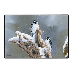 385-Downy Woodpecker Doormat - 100% Polyester face, permanently dye printed & fade resistant, nonskid rubber backing, durable polypropylene web trim on the porch or near your back entrance to the house with indoor and outdoor compatible rugs that stand up to heavy use and weather effects