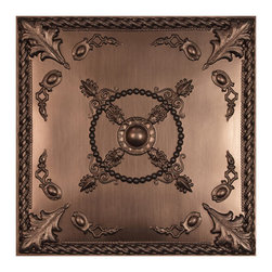 "Alexander Ceiling Tile - Faux Bronze - Perfect for both commercial and residential applications, these tiles are made from thick .03"" vinyl plastic. Their lightweight yet durable construction make these tiles easy to install. Waterproof, these tiles are washable and won't stain due to humidity or mildew. A perfect choice for anyone wanting to add that designer touch at an amazing price."