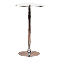 "Coaster - Bar Table By Coaster - Dimension: 23 3/4""W x 23 3/4""D x 40 1/2""H Finish: Polished Chrome Material: Steel, Glass Bar Table with Glass Top in Polished Chrome Finish Add this lovely bar table to your entertainment room for a touch of chic contemporary style. Smooth round glass table top rests above a sturdy chrome finished metal base. A durable steel construction with a high polished chrome finish. Matching bar stools are available separately. Assembly required."